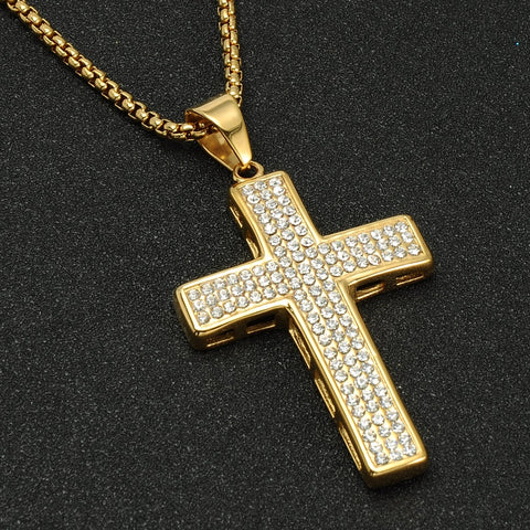Luxury Fully Iced Out 18K Cross Pendant + Chain Bundle