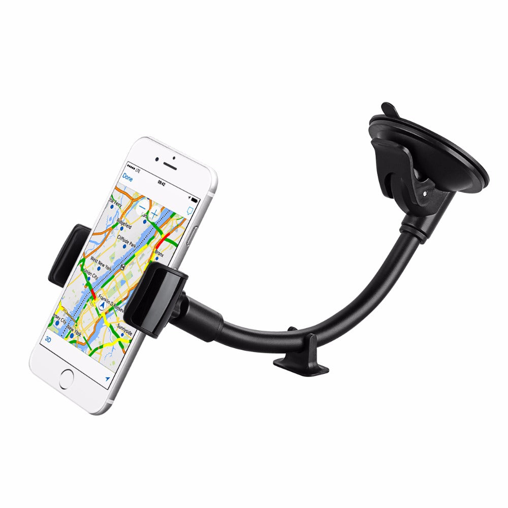 Universal Windshield Dashboard Car Mount Holder Long Arm Phone Holder Cradle w/ Extra Dashboard Base for iPhone etc Phones