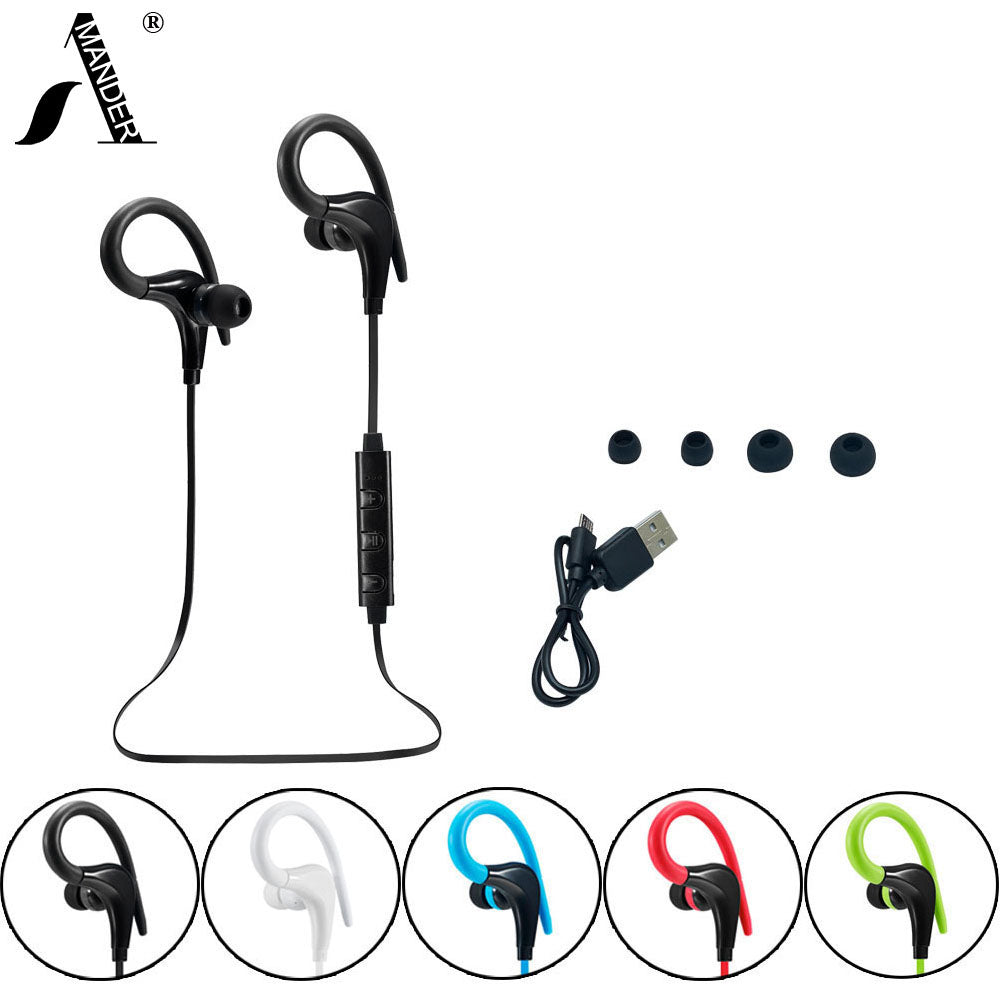 HIFI stereo MP3 bass music headset bluetooth 4.1 wireless headphones sports ear hook earphones with Mic