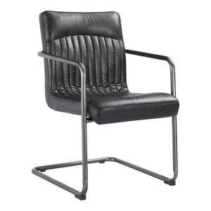 Adams leather dining arm chair