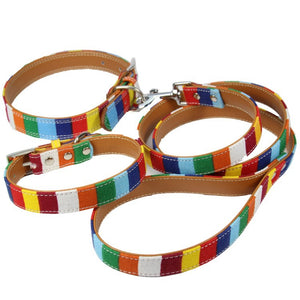 Colourful Rainbow Fabric Dog Collar + Lead Set | My Doggy & Me