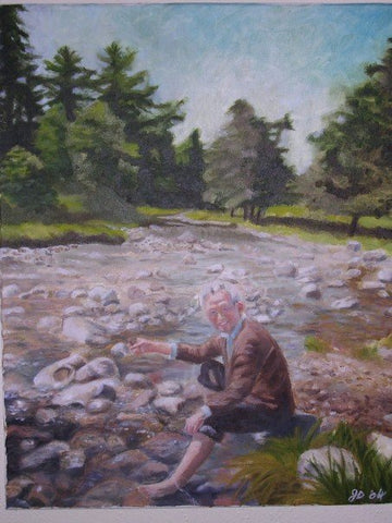 "20"" x 16"" oil on canvas, grandpa skipping rocks in Scotland"