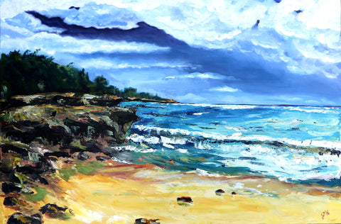 "24"" x 36"" acrylic on canvas, Poi'pu Beach"