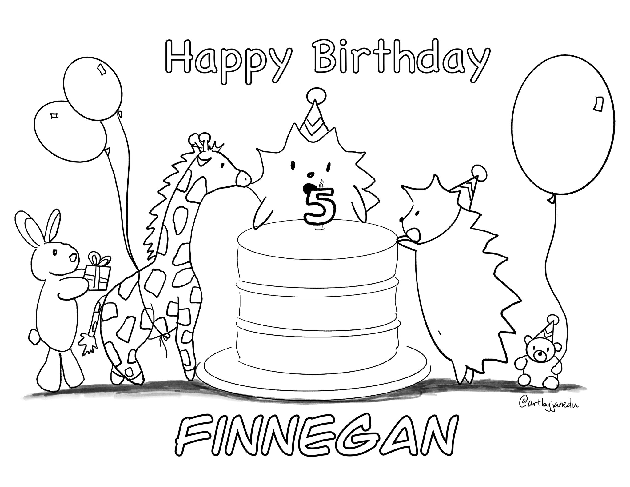 Finn's 5th Birthday Card