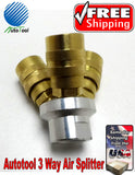 3 Way Air Hose Manifold Quick Coupler Connector Brass Fitting Adapter Manifold
