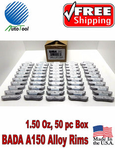 WHEEL WEIGHTS ALLOY Clip on RIMS 1.50 Oz, 50 pc Box BADA ALX 150 MADE IN USA