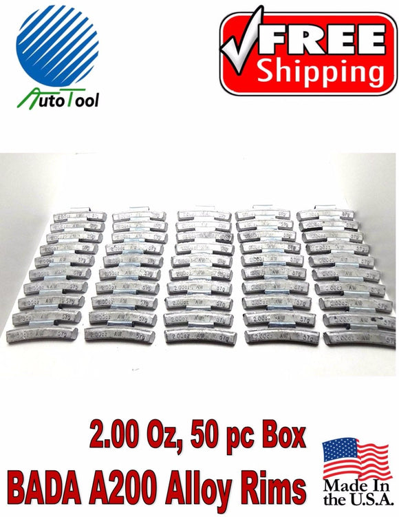 WHEEL WEIGHTS ALLOY Clip on RIMS 2.00 Oz, 50 pc Box BADA ALX 200 MADE IN USA