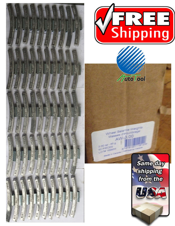 (50) 3.00 OZ ALLOY PASSENGER WHEEL WEIGHT AW Style Plombco