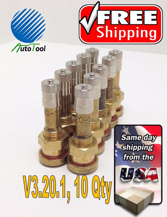 10 pk 40MS-27 1-5/8 Brass Truck Tire Valve Stems Steel Wheels V3.20.1 hole 9.7mm