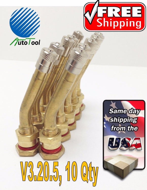 10 pk 70MS-27 1-5/8 Brass Truck Tire Valve Stems Steel Wheels V3.20.5 hole 9.7mm