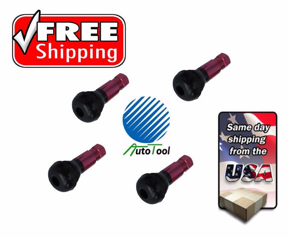 4 PCS. TR413 RED SNAP-IN WHEEL RIM TIRE VALVE STEM ENKEI CAPS.