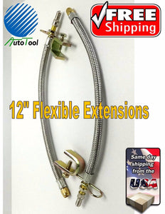 "(2) 12"" Flexible Braided Metal Tire Valve Extensions for Trucks, RVs  Duallies"