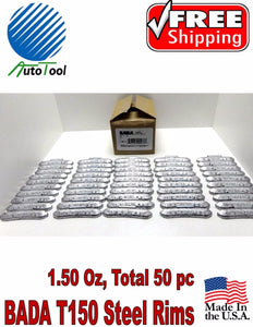 WHEEL WEIGHTS STEEL Clip on RIMS 1.50 Oz, 50 pc Box BADA T 150 MADE IN USA