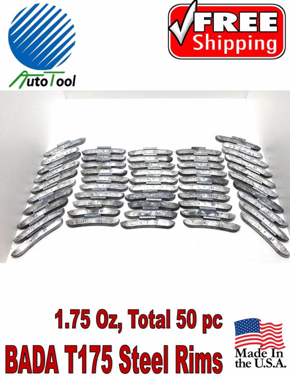 WHEEL WEIGHTS STEEL Clip on RIMS 1.75 Oz, 50 pc Box BADA T 175 MADE IN USA
