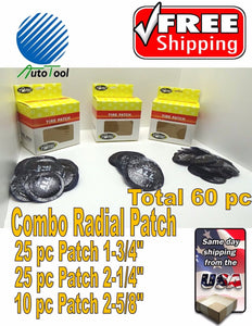 (60) pc Large Medium Small Round USA Style Universal Radial Tire Patch COMBO