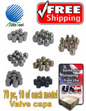 70 Metal Chrome plasticTire/Wheel Valve Cap for Car-Truck-Hot Rod 7 models 10 ea