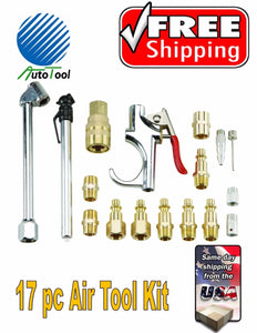 17 Pc Air Tool Accessory Kit M COUPLING AIR GUN AIR CHUCK AIR GAUGE