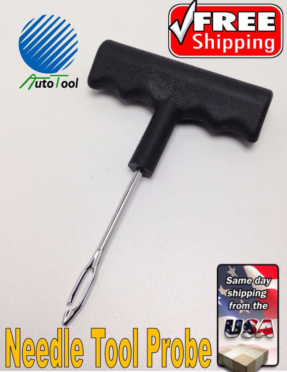 PROFESSIONAL TIRE PLUG PROBE TOOL NEEDLE REPAIR KIT HEAVY DUTY PLASTIC HANDLE