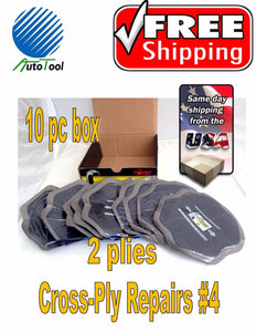 "Cross Ply BIAS Tire Repair Patch #4 OFF ROAD AGRICULTURAL TIRE 5-1/4"" Box of 10"