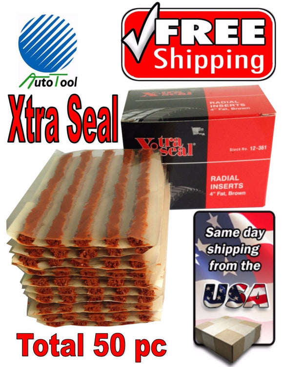 50 Xtra Seal TIRE PLUG SEALS 100% SELF VULCANIZING TUBELESS TIRE REPAIR