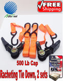 400 lb. Capacity 1 in x 15 ft Ratcheting Tie Downs 2 Pc Weather resistant S-hook