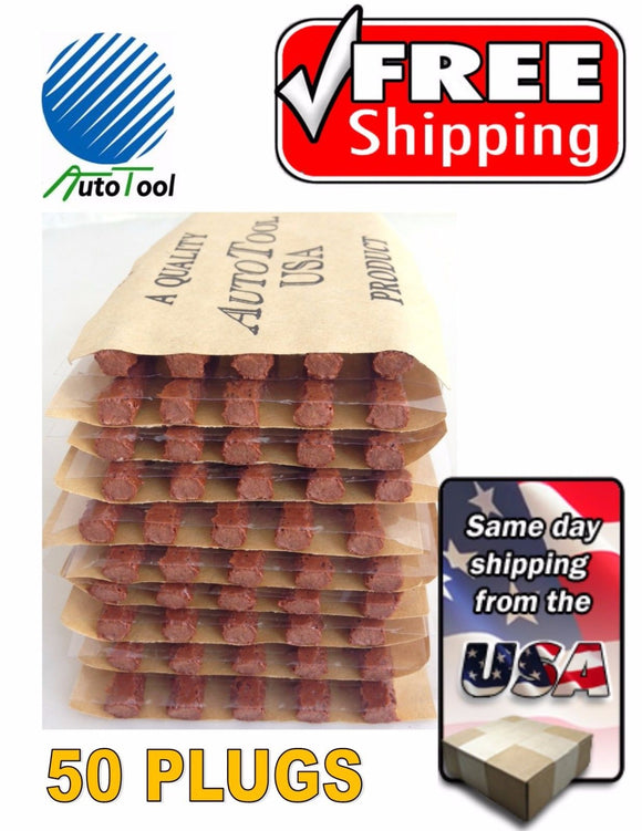 Brown Seal Tire Plugs 50 SEALS 100% SELF VULCANIZING TUBELESS TIRE REPAIR PLUG