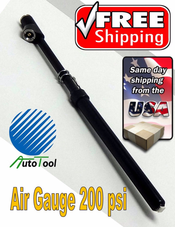 STRAIGHT HEAD TRUCK TIRE AIR PRESSURE GAUGE 200 PSI TRUCKER TIRE GAUGES BLACK