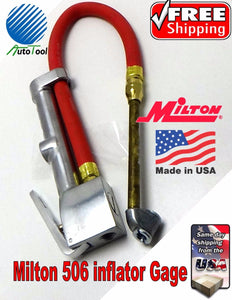"Milton S506 Dual Head Inflator Gauge 15"" Air Hose 506 Gage tire changer 120 psi"
