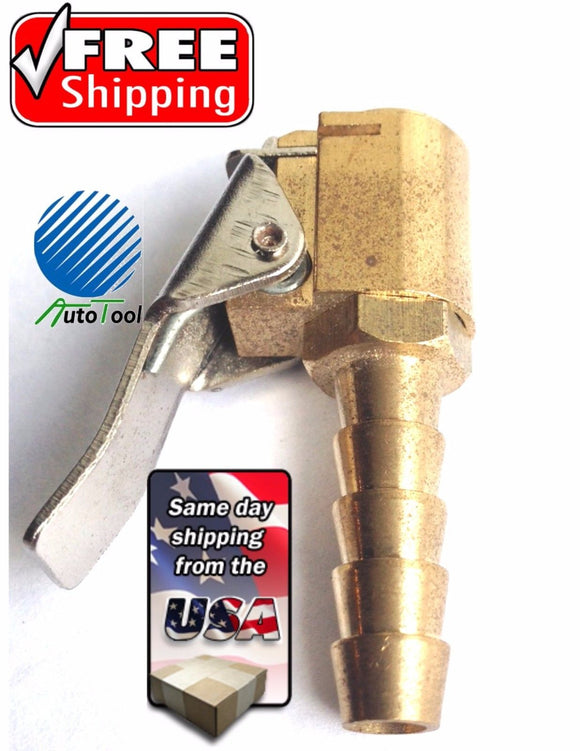Brass Open Flow Tire Valve Air Chuck, Clip on style-1/4