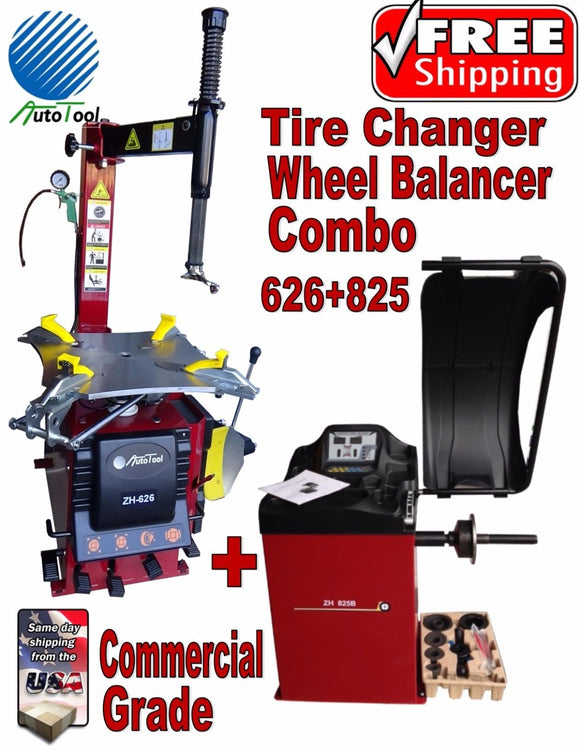 NEW TIRE CHANGER WHEEL CHANGER & BALANCER RIM CLAMP COMBO ZH626-BL825 CA Stock