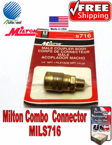 "1/4 NPT MALE ""M"" STYLE AIR LINE COUPLER MILTON S716 Quick Connector Made in USA"