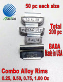 WHEEL WEIGHTS ALLOY RIMS 0.25, 0.50, 0.75, 1.00 Oz, 50 pc each 200 pc Total