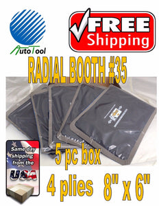"Dual Cure Square Booth Radial Tire Repair Patch 6"" x 8"", 4 ply, Box of 5 TAITEC"