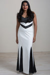 Hensa full length mermaid cut black and white dress.