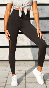 KB Strong Leggings in Black with Mesh Detail