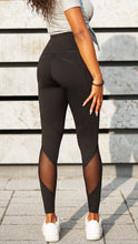 Load image into Gallery viewer, KB Strong Leggings in Black with Mesh Detail