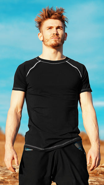 KB Essential Tee in Black with White Thread Detail
