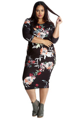 2247 Floral Print Bodycon Dress