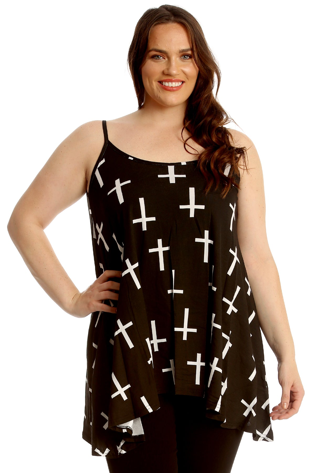 Cross Print Swing Cami Top