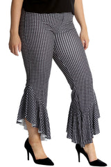 6085 Checked Frill Trousers