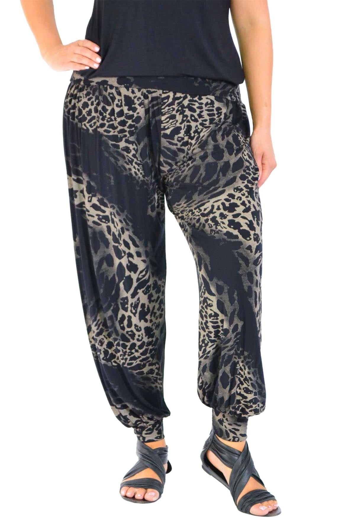 7031 Abstract Leopard Print Harem Trouser