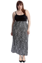 5043 Paisley Mirror Effect Print Mid Calf Skirt