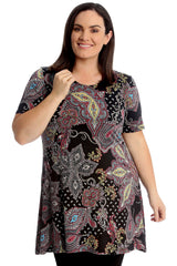 1727 Paisley Floral Print Swing Top
