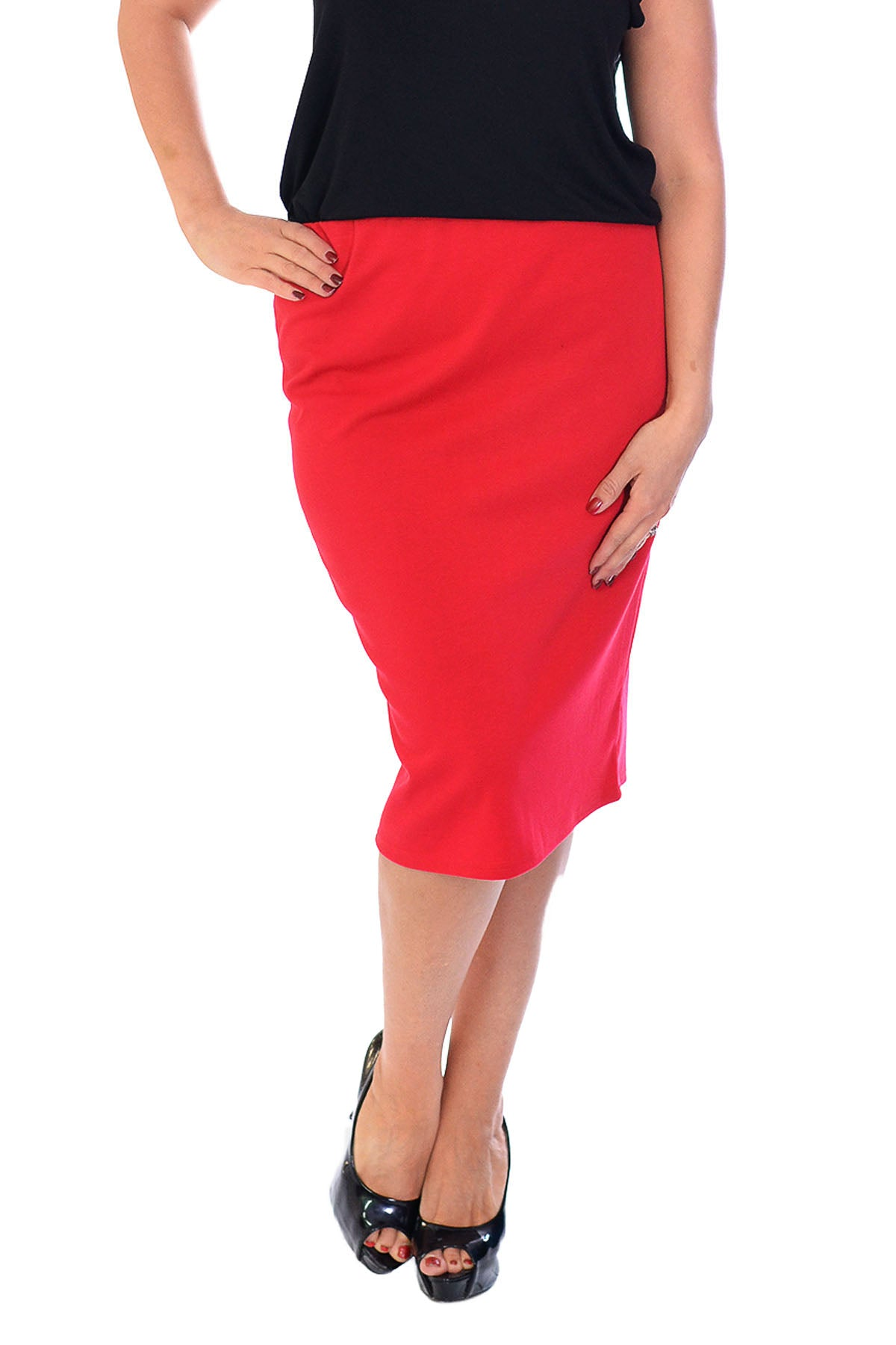 5005 Plain Ponte Pencil Skirt