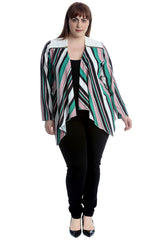 3243 Crepe Stripe Print Zip Detail Cardigan