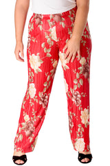 Floral Print Pleated Trousers
