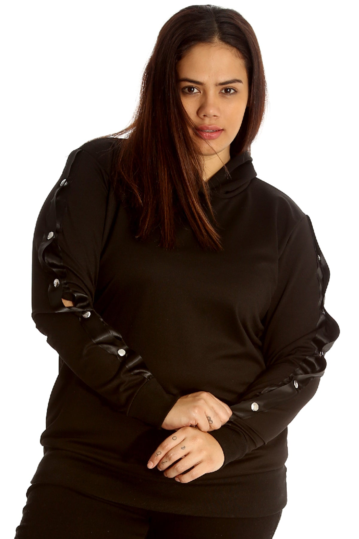 3062 Popper Button Hooded Sweatshirt