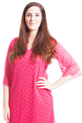 2144 V-Neck Floral Lace Tunic