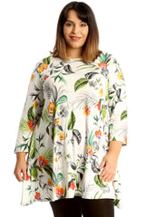 1671 Jungle Leaf Print Swing Top