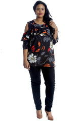 1311 Floral Print Cold Shoulder Top